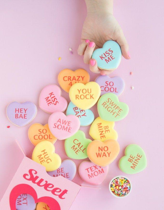 Conversation Heart Cookies The Sprinkle Factory Conversation Heart Cookies Conversation Hearts Candy Valentine Cookies