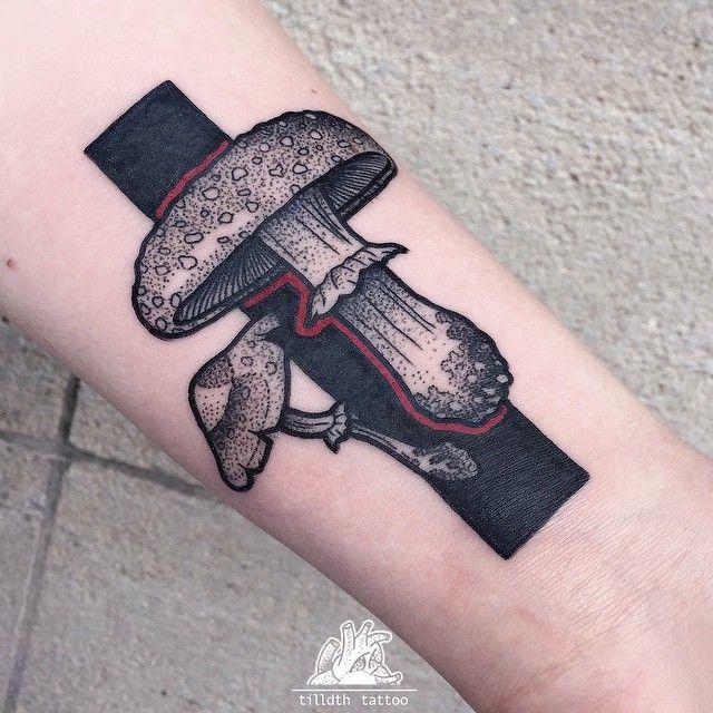 Instagram media by tilldthtattoo - spontaneous little mushrooms, thank you! #mushroom #flyagaric #tattoo #blackwork #blackworkers #herzdame #dotwork #dotworktattoo #black #tilldth #tilldthtattoo #eisenherz #magdeburg #ink #inked
