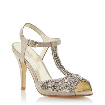 Roland Cartier Gold bead embellished peep toe sandal- at Debenhams.com