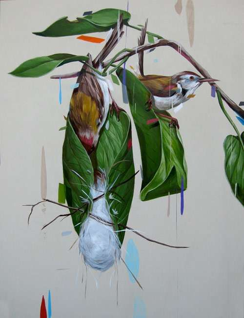 Vivid Avian Artistry - Frank Gonzales Depicts Colorful Birds Amid Psychedelic Plant Life (GALLERY)