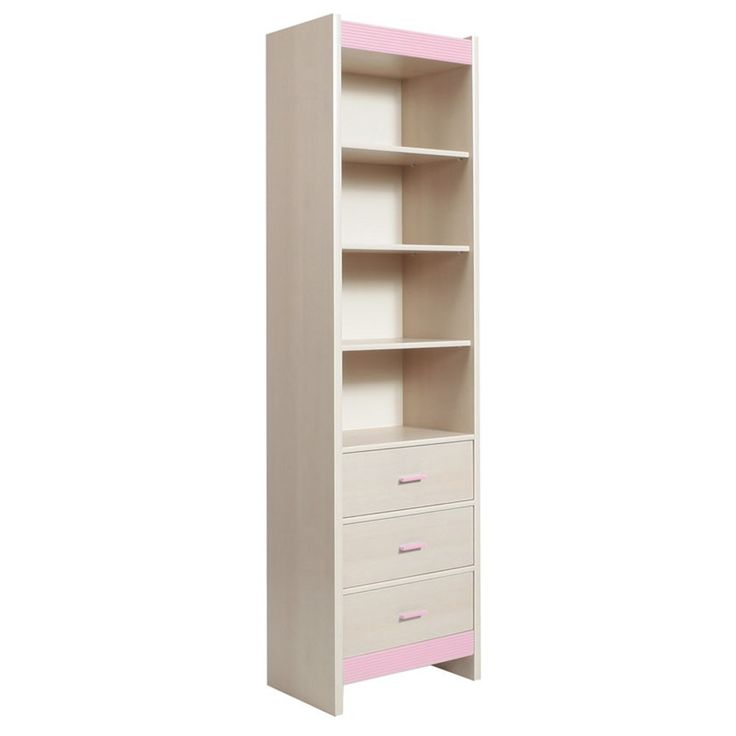 Fanfair Kids Tall Narrow 3 Drawer Bookcase in Beech with Pink Trim is suitable for tots to teens finished in high quality easy to clean Melamine, and available with a choice of Blue/Pink or Beige colour trims. #Furniture #Bedroom #BedroomFurniture #Drawer #Bookcase #FanfairKids http://pricecrashfurniture.co.uk/fanfair-kids-tall-narrow-3-drawer-bookcase-in-beech-with-pink-trim.html