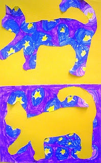 """Very cute...multiple lessons in one!  Based on the book """"Vincent VanGogh's Cat""""...create a basic painting based on any artist, draw and cut out a cat in one cut and save the scraps to create a positive and negative cat!"""