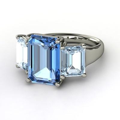 emerald cut blue topaz & aquamarine ring