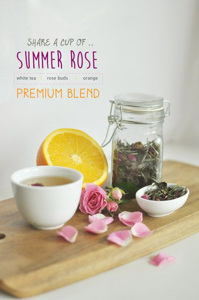 Summer Rose Flavored White Tea A perfect summer companion with subtle citrus notes and an irresistible Rose aroma. Enjoy before bed as a calming tea or enjoy as an afternoon tea with some rosewater scones or shortbread.  by KettleTown on Etsy, $15.00