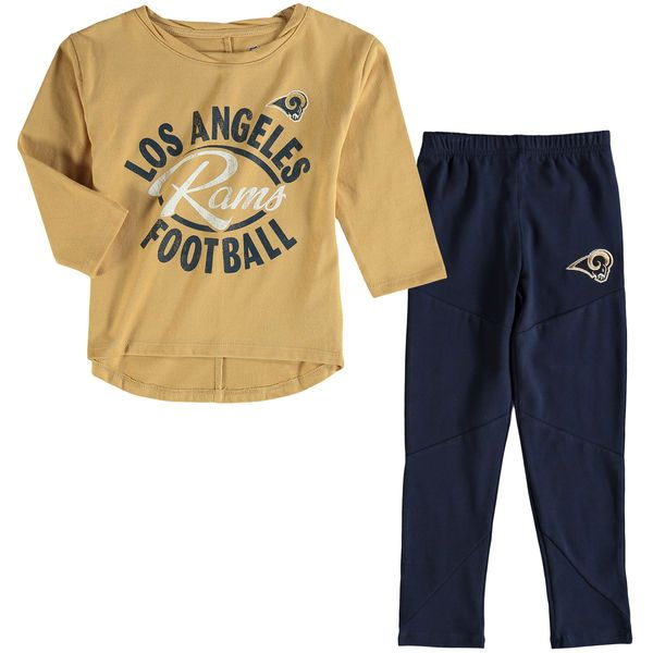 Los Angeles Rams Girl's Toddler Fan Gear Football Sweetheart Long Sleeve T-Shirt and Pant Set - Gold/Navy - $39.99