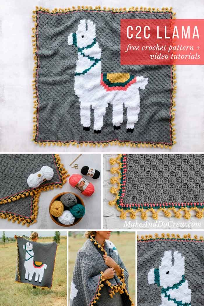 0270f415b Make this adorable alpaca or llama corner-to-corner crochet blanket using the  free graph pattern and video tutorials. This c2c afghan with pom pom edging  is ...