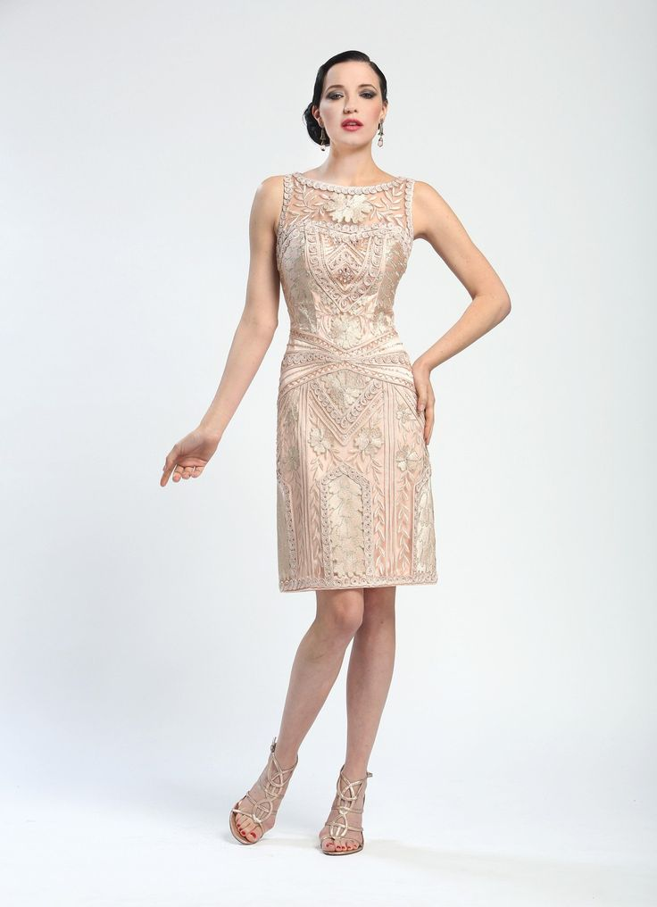 Elegant Embroidered Short Cocktail Dress in Blush by Sue Wong $369.00 AT vintagedancer.com