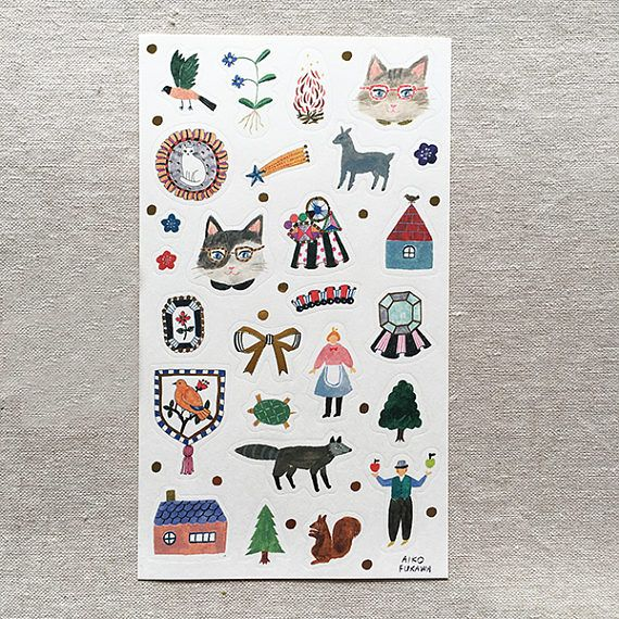 Stickers by Japanese Artist Aiko Fukawa  Some Gold Foil
