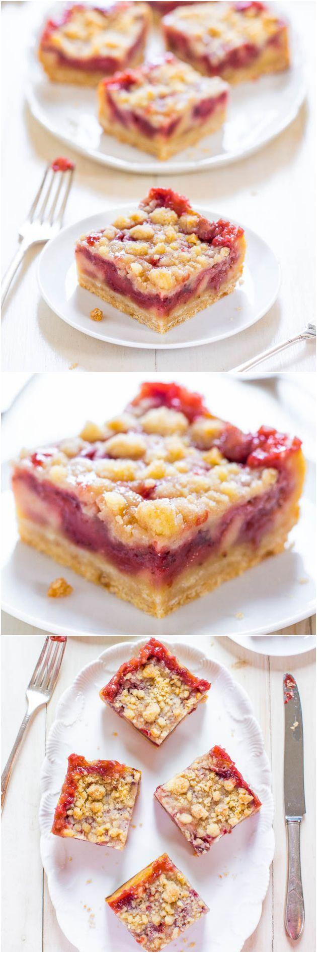 Strawberry Lemonade Bars - Imagine crossing lemon bars with a strawberry pie. These easy bars taste like strawberry lemonade! Sooo good!