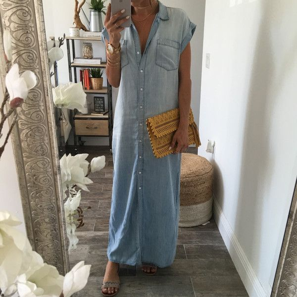 The Liz Denim Maxi Dress