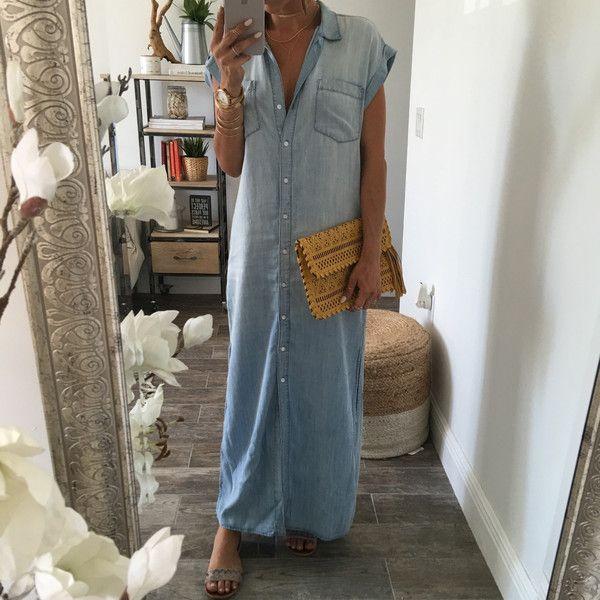 The Liz Denim Maxi Dress