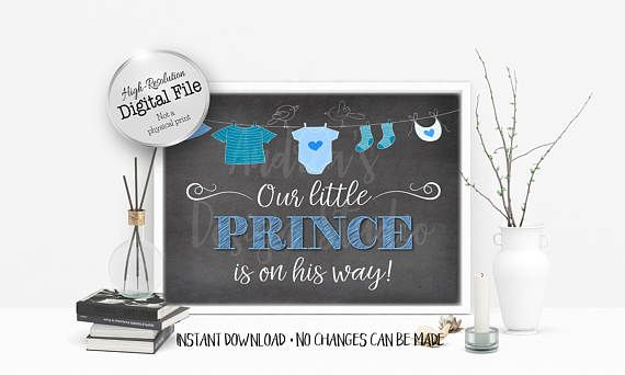 Our Little Prince Is On The Way Sign Baby Shower Sign Baby