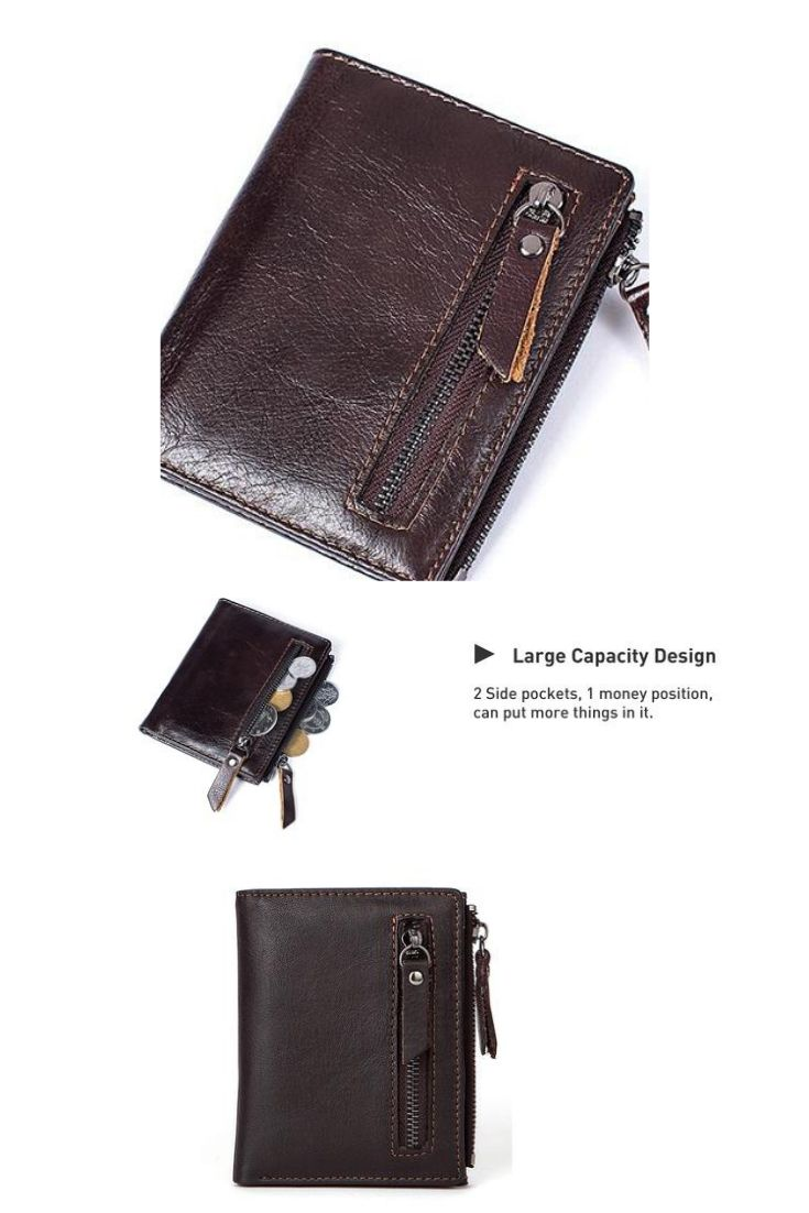 Men Women Genuine Leather Wallet Credit Card Holder Zip Coin Bag Vintage Purse
