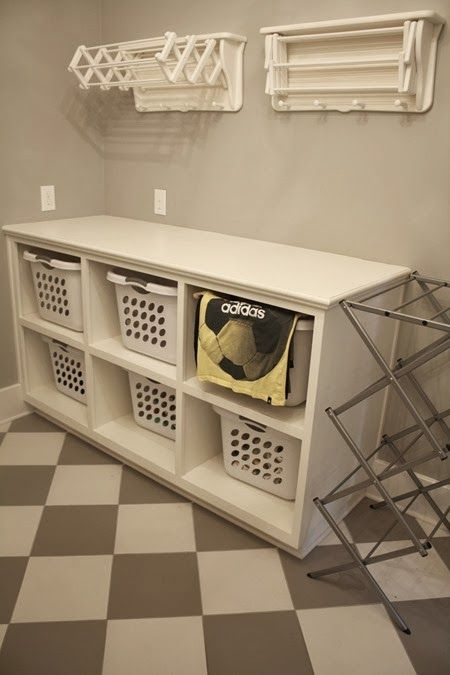 Would love to have a sorting station similar to this with 6 laundry baskets stacked 3 high under the chute.  That way you wash one basket and use the basket for clean folded when done.