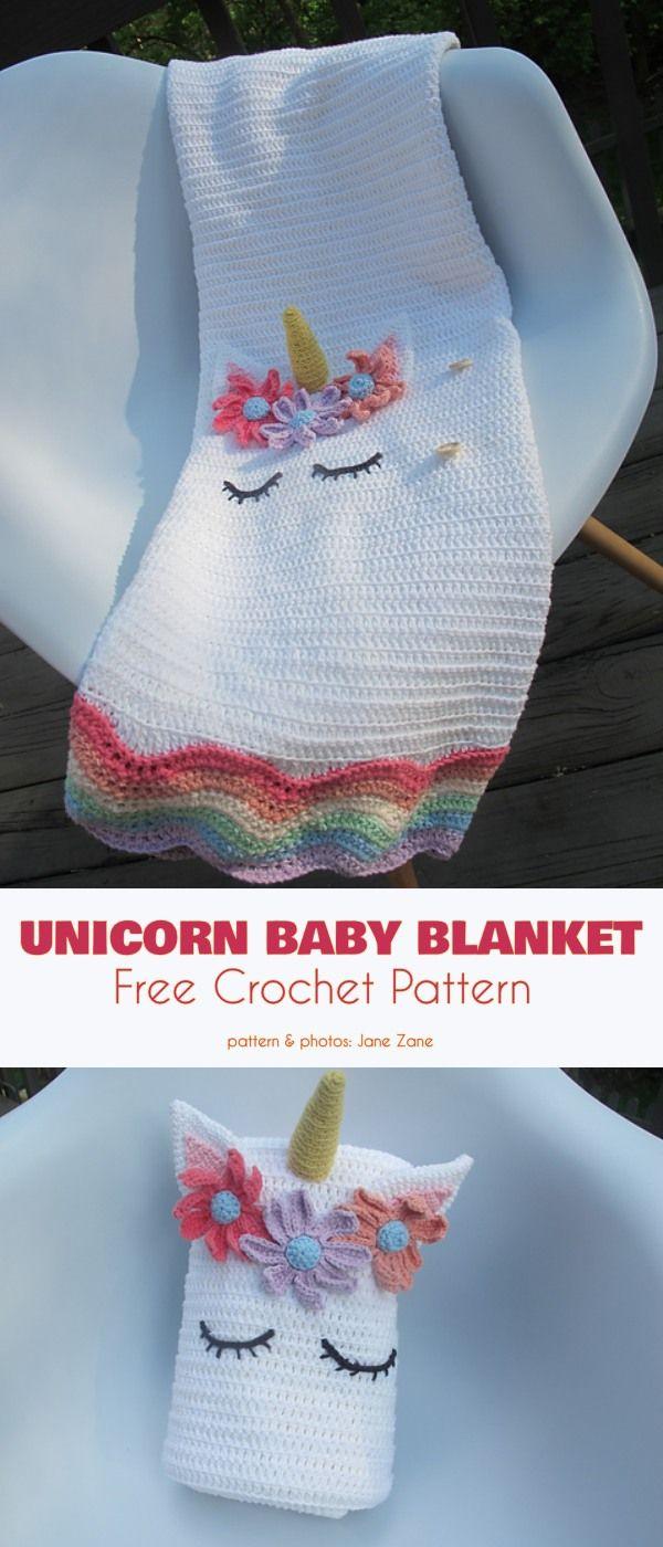 Cobertor Do Bebê Do Unicórnio Livre Padrão De Crochê