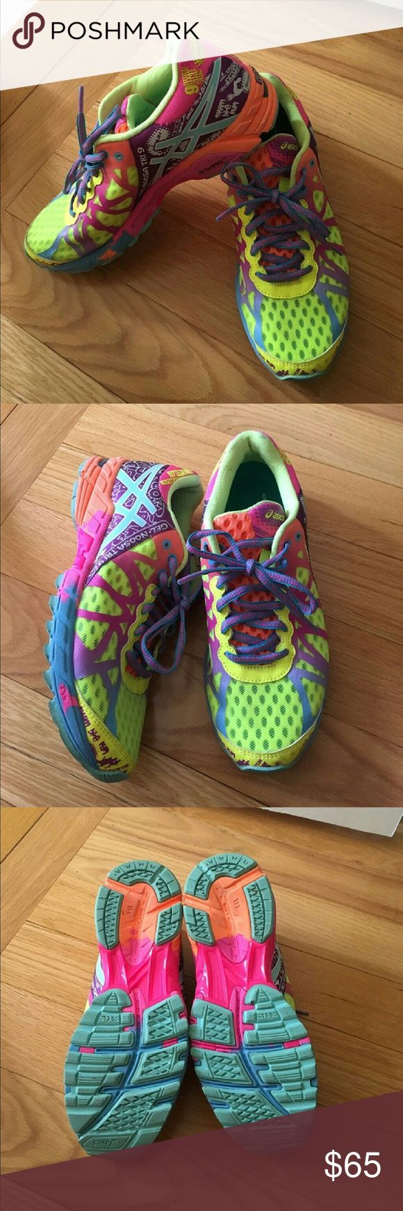 ASICs gel noosa running shoes (like new) Bright colored,one of a kind,worn 2 times. Great Condition!! Asics Shoes Athletic Shoes