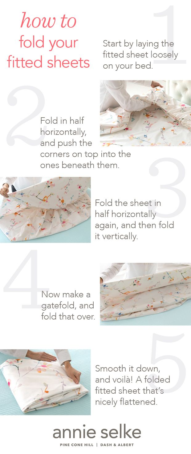 How to fold a fitted sheet: the secret to saving space in your linen closet is a perfectly folded fitted sheet.  Follow our easy step-by-step folding instructions and never have a balled up, wrinkled sheet again.