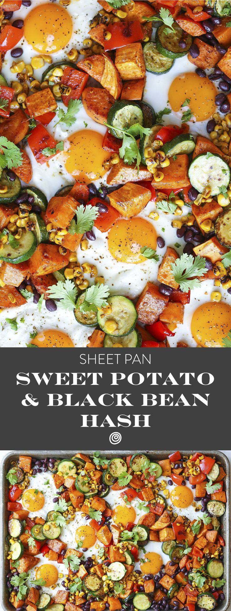 Sheet Pan Sweet Potato and Black Bean Hash Recipe. Sheet pan dinners and suppers are the ultimate in one pan recipes. This quick, EASY, simple dish is great for a weeknight meal or a sunday supper with your family. Think of this hash as your invitation to do dinner for breakfast, or breakfast for dinner. It's fragrantly spiced with cumin, chili, and smoked paprika and finished a tumble of fresh cilantro.