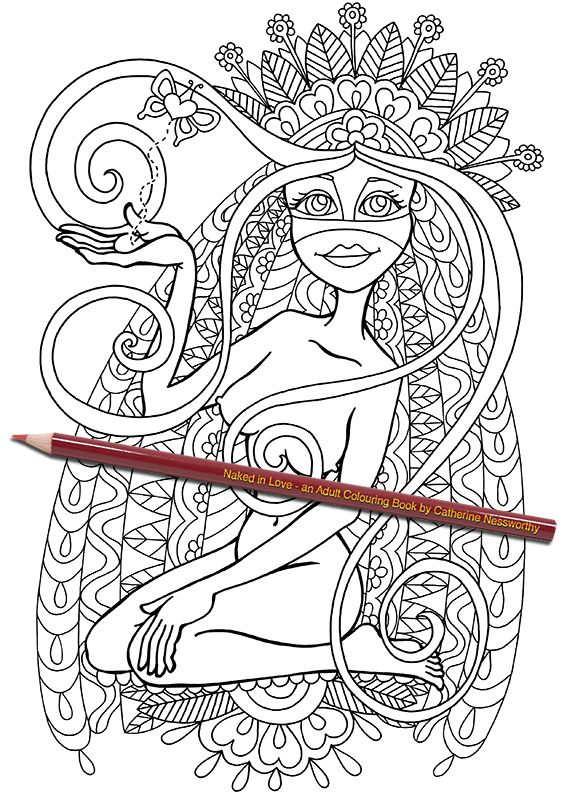 a bright eyed young bride sets her love free on little butterfly wings in this nude art work from naked in love an adult colouring book by catherine - Nude Coloring Book