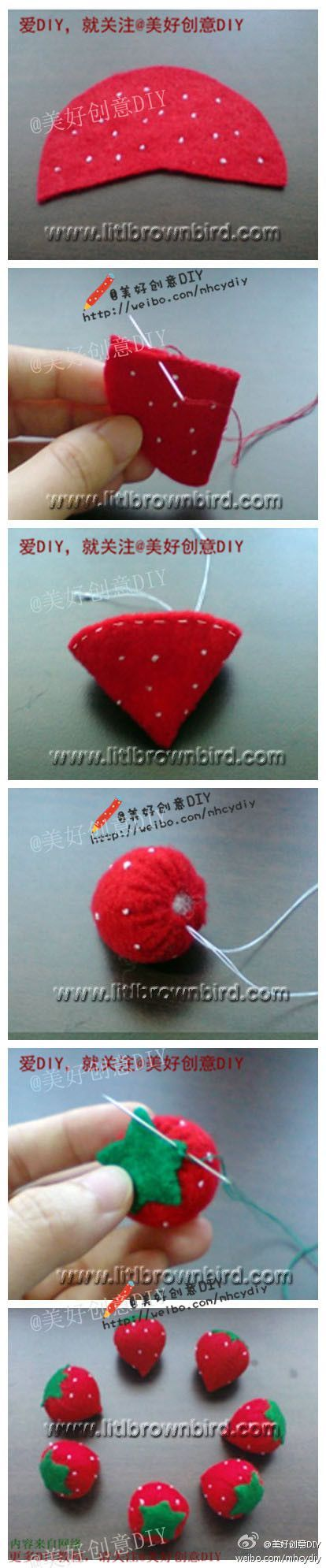 felt strawberry. Jack's favorite food at the moment. I have to make these for his play kitchen, so cute :):