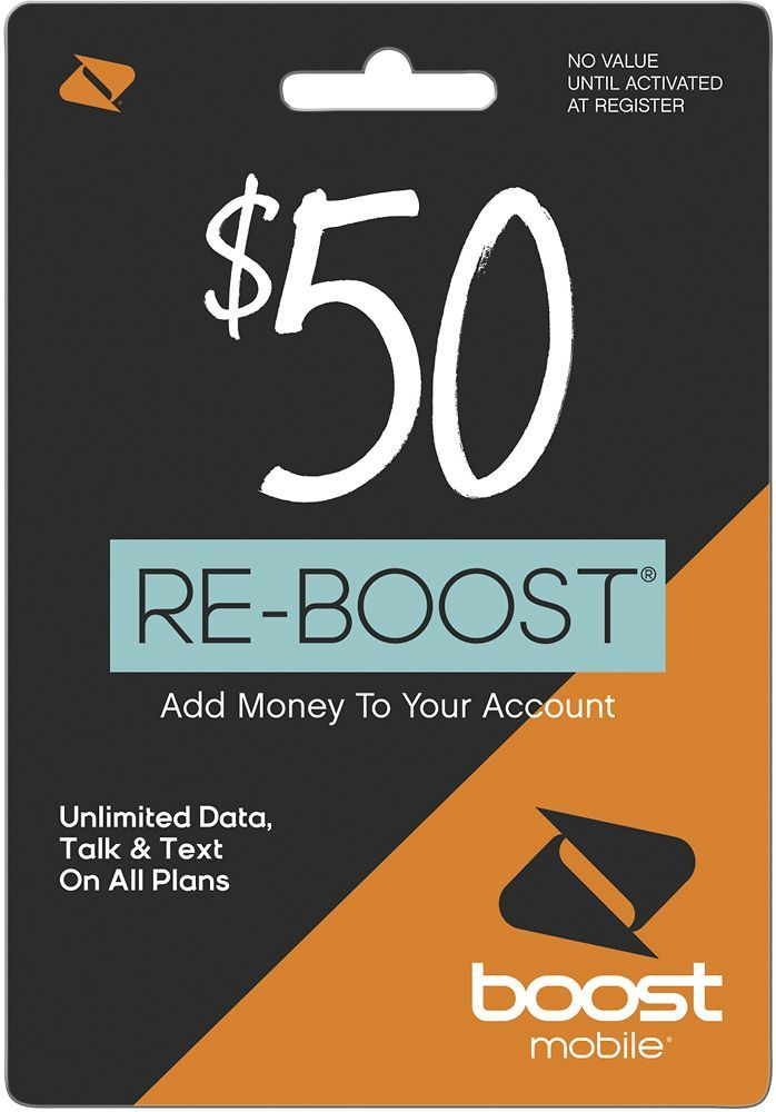 Boost Mobile - Re-Boost $50 Prepaid Phone Card, BOOST MOBILE $50 2016
