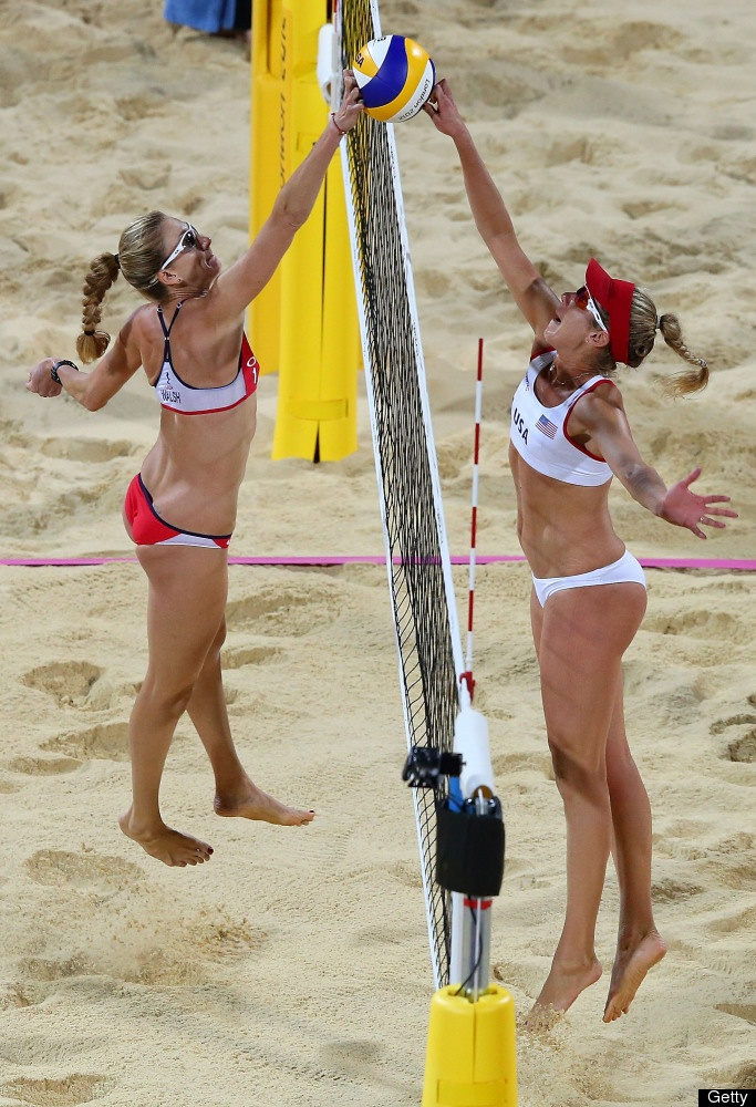 Kerri Walsh Jennings of the United States competes against April Ross of the United States during the Women's Beach Volleyball on Day 12 of the London 2012 Olympic Games at the Horse Guard's Parade on August 8, 2012 in London, England.