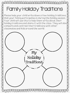 16.D.1 (W) Identify how customs and traditions from around the world influence the local community. This would allow for each child to explain their various holiday traditions.