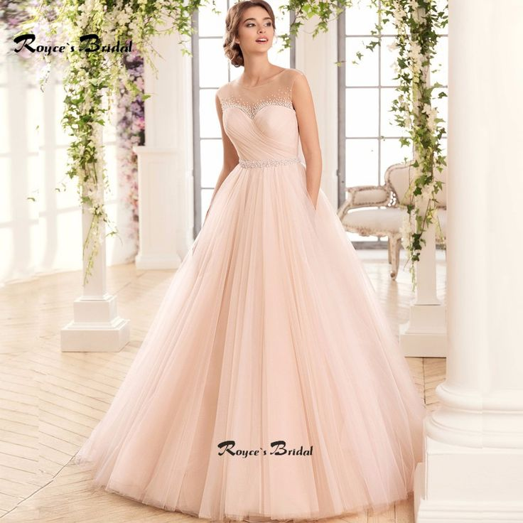 Fashion Sheer Neck Light Pink Wedding Dresses with Pearls Sexy Hollow Out A-line Tulle Bridal Dress