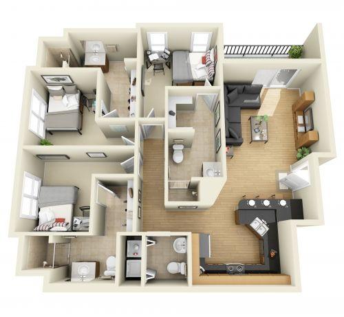 3 Bedroom 3D Floor Plan Interior Design Pinterest