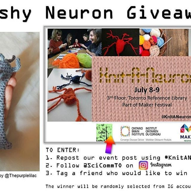 Plushy Neuron #giveaway! Win this plushy neuron crafted by @thepurplelilac Purplelilac Repost our #KnitANeuronTO event, follow @scicommto & tag someone who needs a neuron in their life!    The winner will be randomly selected from our IG account on July 9th.   #KnitANeuronTO #instagramgiveaway #knitting #knittersofinstagram #toronto #scicomm #science #scicommto #neuroscience #free #competition #crafts #makerfestival #crochet #crocheting #makerfest #canada #etsytoronto