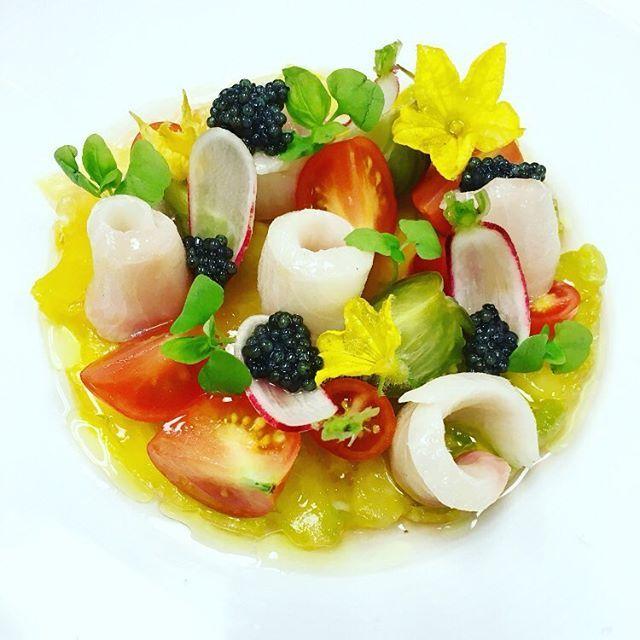 Smoked sablefish, osetra caviar,heirloom tomato carpaccio, pickled green tomatoes, @minus8vinegar veg8 vinaigrette by @chefrylo88 - posted via @chefstalk app - www.chefstalk.com #chefstalk