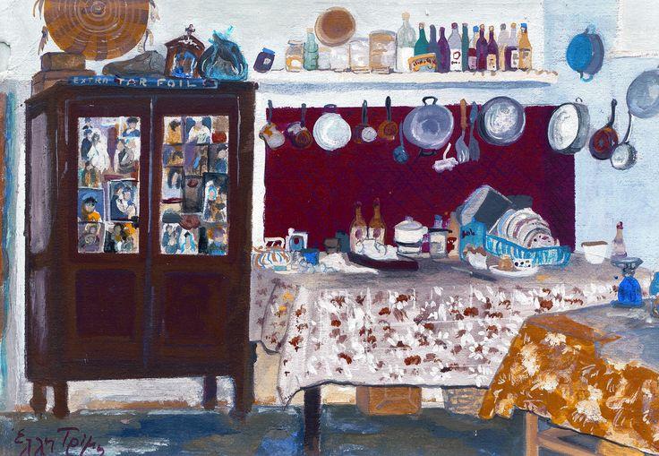 Εσωτερικό σπιτιού, Παραλίμνη, Κύπρος. House interior at Paralimni, Cyprus, Tempera, (copyright Eli Trimis, all rights reserved)