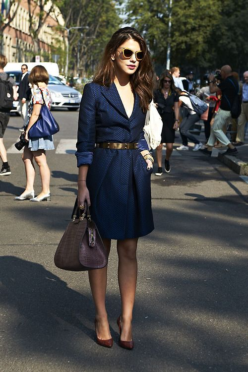 Classic Navy, belted Dress.