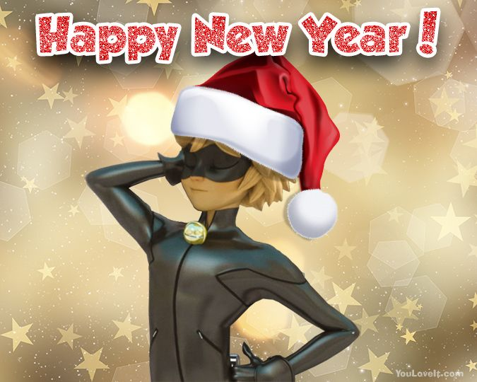 Miraculous Ladybug and Cat Noir Happy New Year cards - pictures