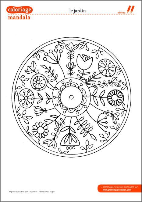 Coloriage Mandala : Le jardin. This would make a great embroidery pattern.