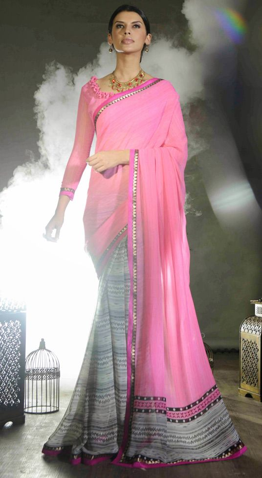 USD 23.16 Pink Georgette Party Wear Saree 47522