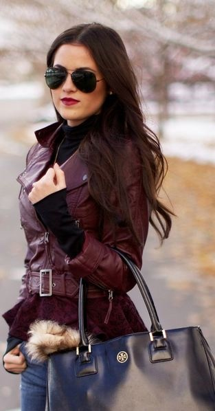 Black aviators, Burgundy Leather jacket, dark wash skinny jeans, and Tory Burch handbag...perfect for fall and winter!