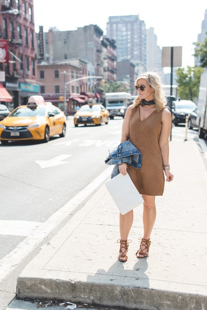 Afternoon Espresso blogger, Ashley Pletcher, explores between shows during NYFW, wearing BB Dakota Faux Suede Dress, paired with Madewell Neck Tie, Gigi New York Clutch and Ray Ban Sunnies