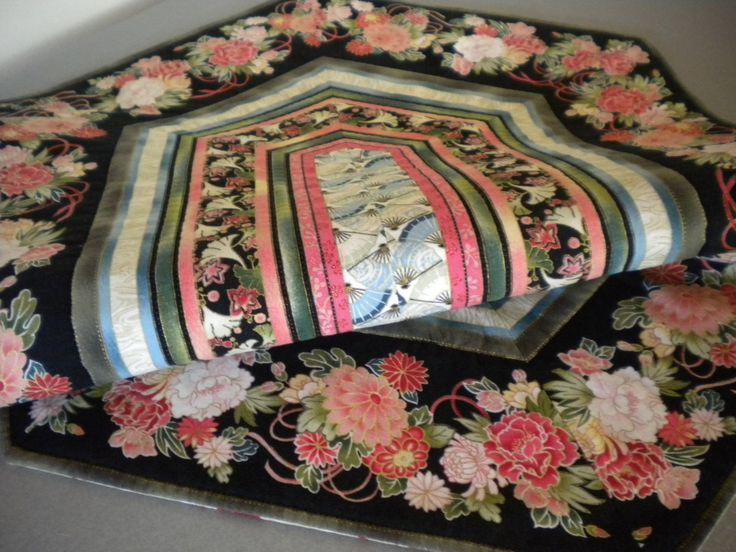 Quilted Table Runner Asian Quilt floral fabric Floral