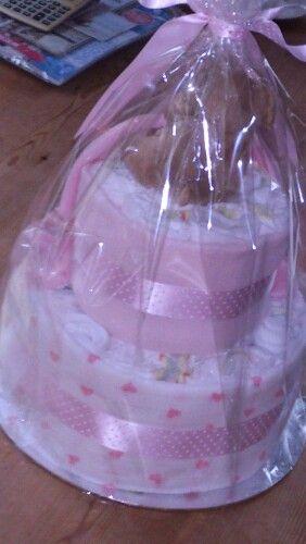 Pink nappy cake (back)