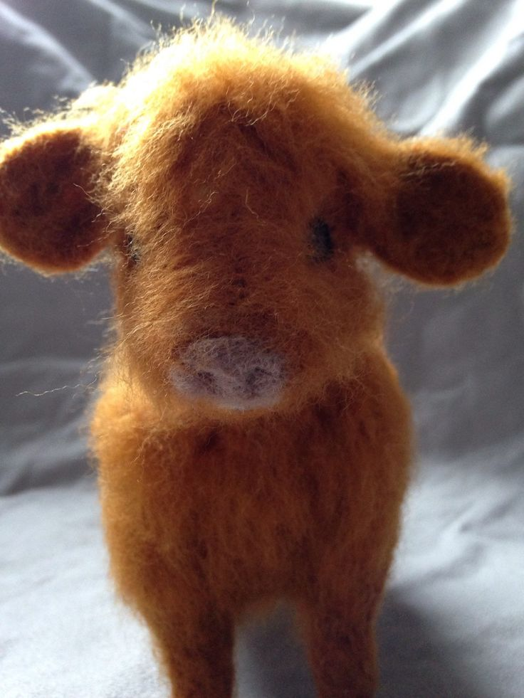 Highland cow, Felted cow, Calf Scottish cow , Farm animal, Soft sculpture miniature cow gift, mother's day gift, OOAK, Cow from Scotland by Made4ubyJackie on Etsy https://www.etsy.com/ca/listing/286382009/highland-cow-felted-cow-calf-scottish