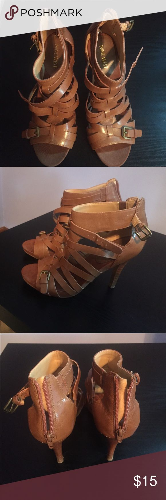 Nine West tan strappy heels 6.5 Sassy Nine West strappy peep toe pumps with zipper back. In very good condition besides some wear and tear on the sole. Worn only once to an outdoor wedding. Nine West Shoes Heels