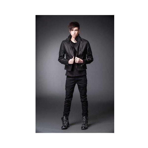 Mens Black Punk Rocker Goth Biker Jacket With Two Zippers Cheap... ($165) ❤ liked on Polyvore featuring men's fashion, men's clothing, men's outerwear, men's jackets, mens moto jacket, mens rocker leather jacket, mens biker jacket, mens zip jacket and mens gothic jacket