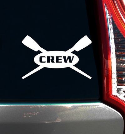 Crew Rowing Car Window decal is the perfect rower gift! Being on a crew team is tough and requires hard work. Celebrate your rowers' dedication and proudly display a rowing window decal with crossed o