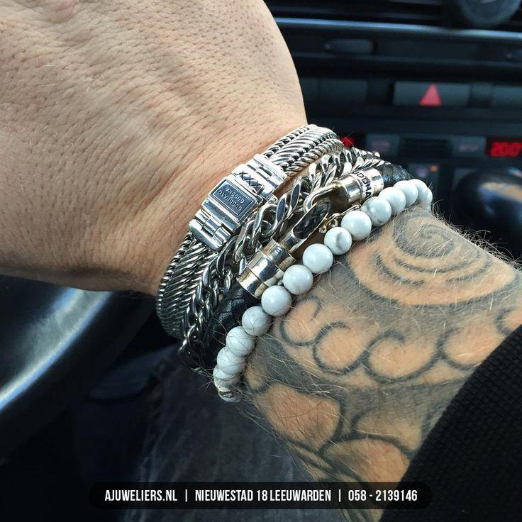 Stijlvolle combinatie heren armbanden van Buddha to Buddha. www.ajuweliers.nl
