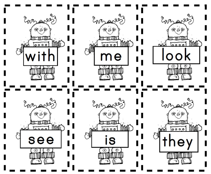 Robot Sight Words (great for boys!)