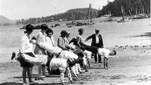 Clayoquot Island sports day 1930s. Every year, on the May long weekend, the reclusive owner of Clayoquot (also Stubbs) Island, near Tofino, invites the public to enjoy her bucolic paradise. The island was once home to a hotel and a store, as well as a community known as Japtown. The wartime relocation of Japanese Canadians eventually led to the end of businesses on the island. (Ken Gibson Collection/Ken Gibson Collection)