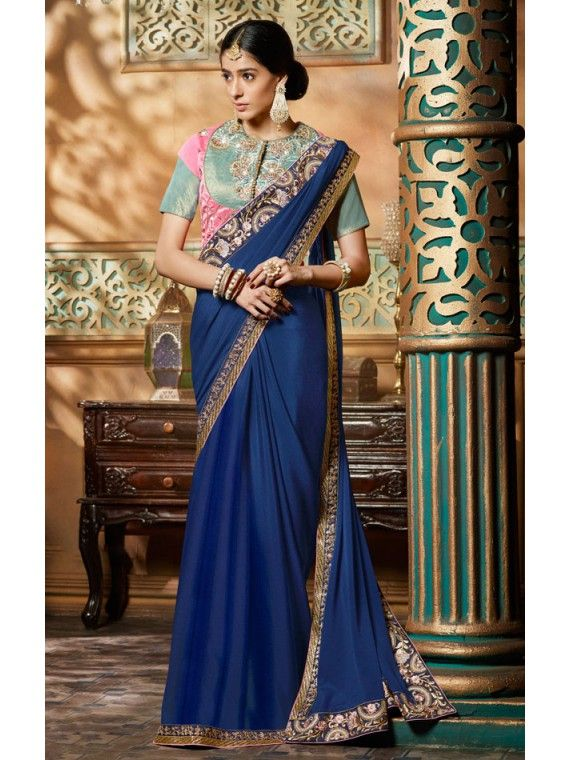 Mesmerizing Blue and Golden Designer Saree