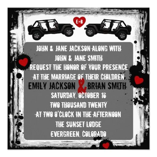 Black white red JEEP custom wedding invitations