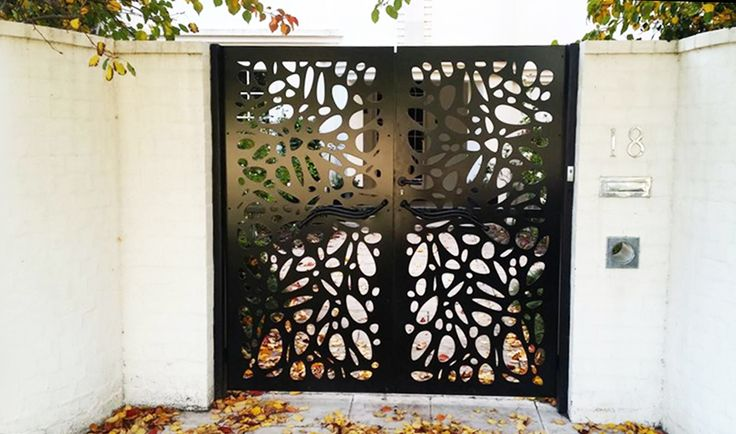 Garden entry decorative screen gate that allows for semi-privacy, made in black-painted mild steel in our 'Cayman' design. ~QAQ